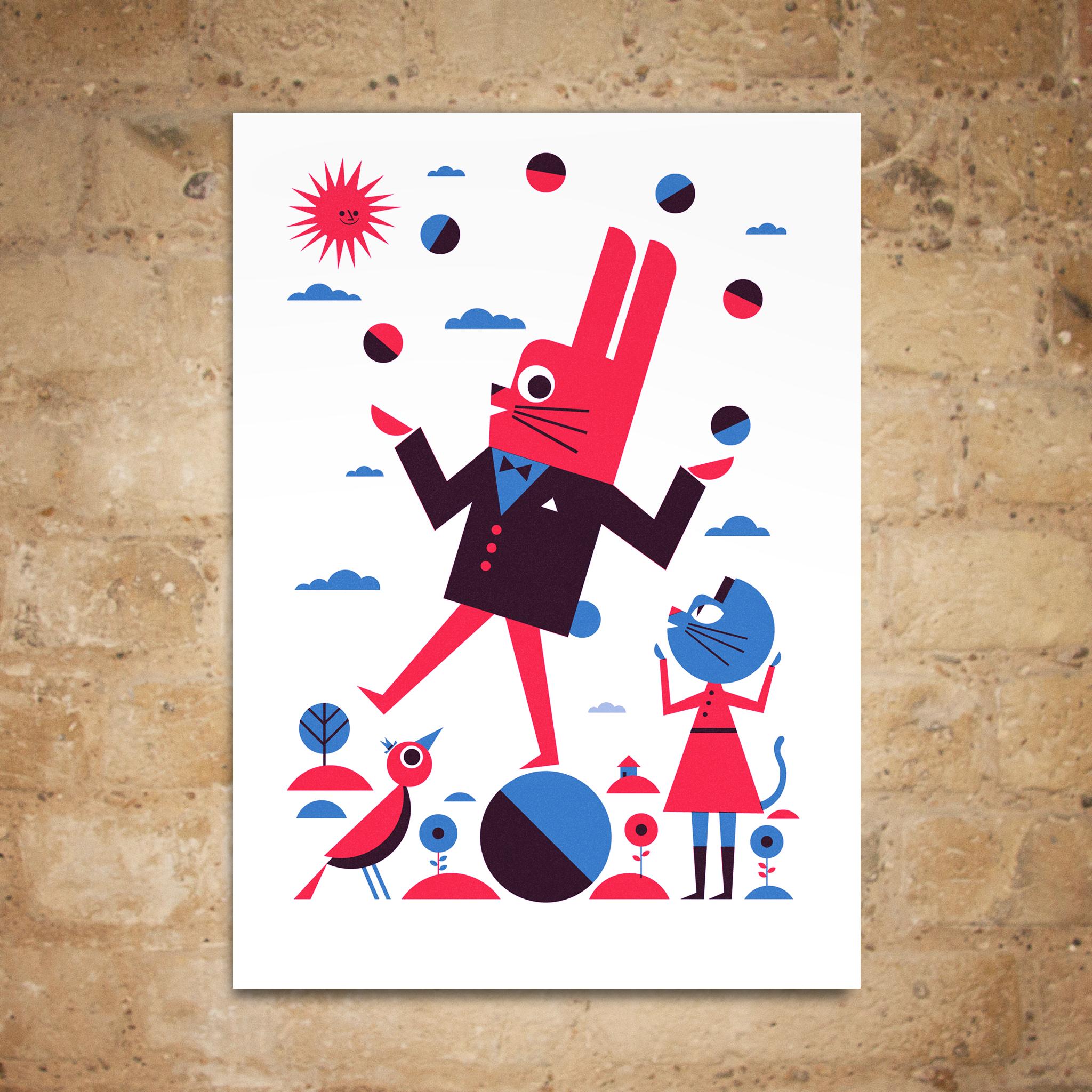 Juggling Bunny Print