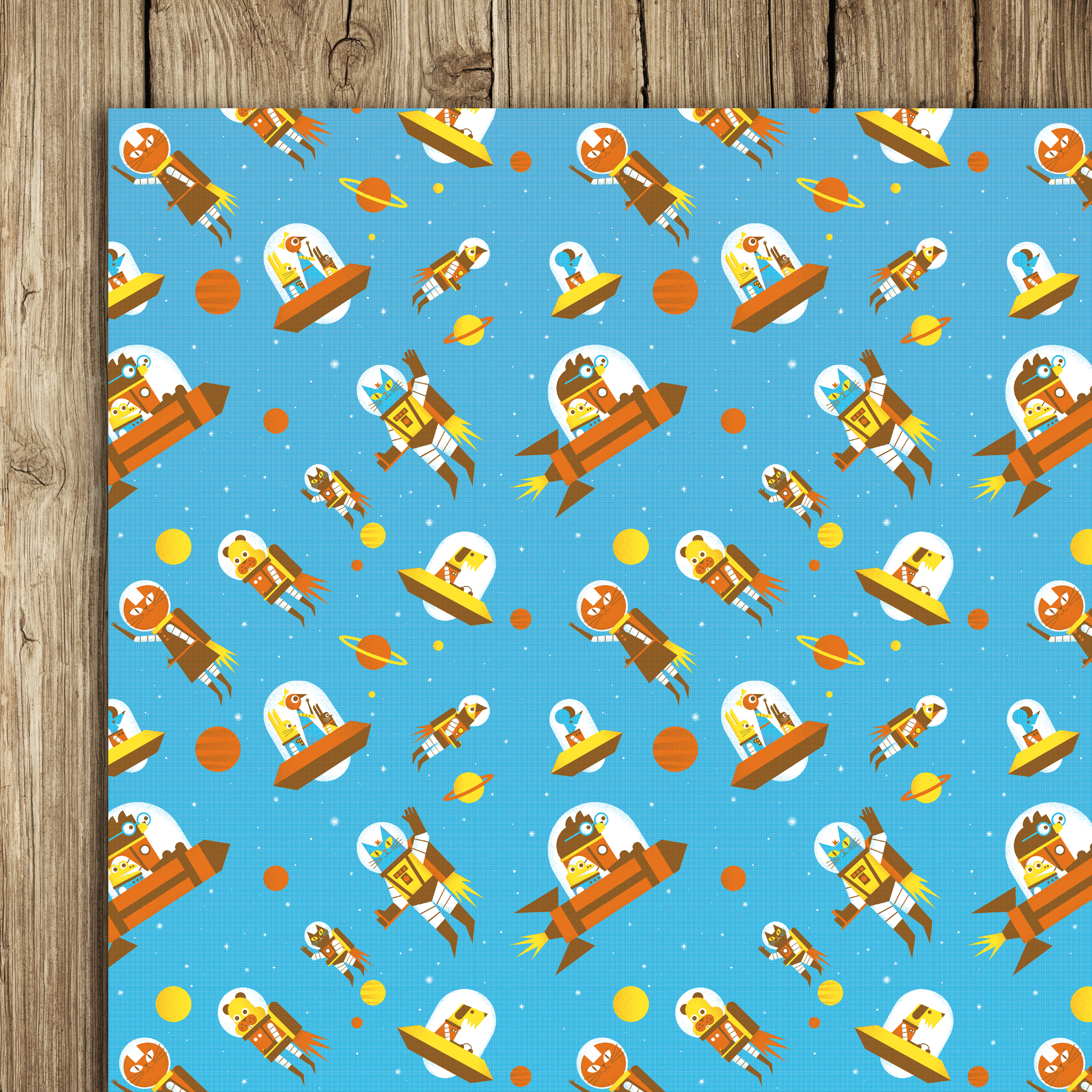 Flying Astro Cat Wrap (5 sheets)
