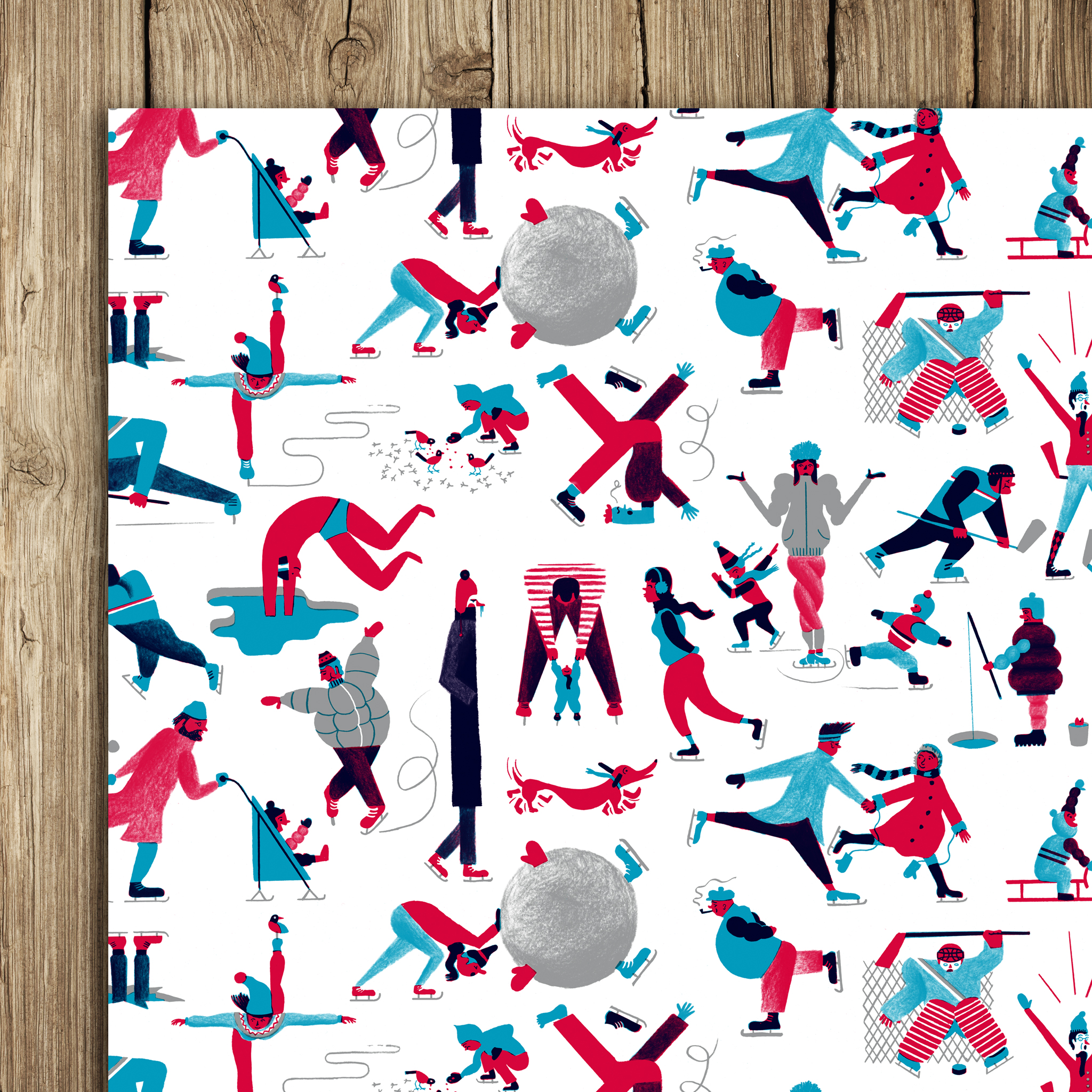 Icy Lake Skaters Wrap (5 sheets)